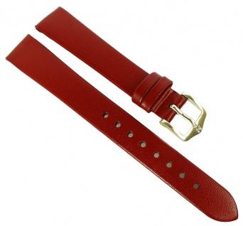 HIRSCH | Uhrenarmband > Leder, rot ohne Naht > Dornschließe | Kurze-Länge | 36501
