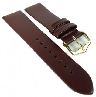 HIRSCH | Uhrenarmband > Leder, braun ohne Naht > Dornschließe | Kurze-Länge | 36488
