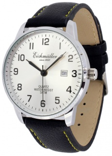 Eichmüller Armbanduhr Lederband schwarz Herrenuhr Analog Quarz 3ATM Datum