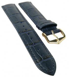 HIRSCH DUKE L | Uhrenarmband italienisches Leder / Alligatorprägung / Blau 31018