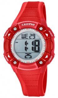 Calypso Damenarmbanduhr Quarzuhr Digitaluhr Kunststoffuhr mit Alarm Stoppfunktion rot K5728/3