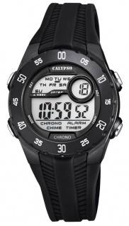 Calypso Kinderarmbanduhr Quarzuhr Digitaluhr Kunststoffuhr schwarz mit 2 Alarmzeiten Weltzeit Licht K5744/6