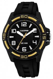 Calypso Herrenarmbanduhr analoge Quarzuhr aus Kunststoff mit Silikonband schwarz/gelbgoldfarben K5760/6