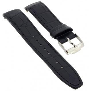Jacques Lemans Uhrenarmband schwarz Leder Kroko - Optik Ton in Ton Naht 1-1646 1-1646A