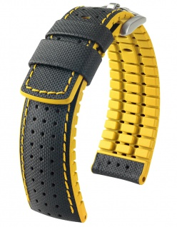 HIRSCH Performance | Uhrenarmband aus Leder/Kautschuk schwarz/gelb Segeltuchoptik 30954S