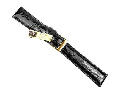 Herzog Ersatzband XL Uhrenarmband 12mm - 20mm   Krokoleder, schwarz, glänzend 32228G