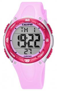 Calypso Kinderarmbanduhr Quarzuhr Digitaluhr Kunststoff rosa mit 2. Zeitzone Alarm Stoppfunktion K5741/2