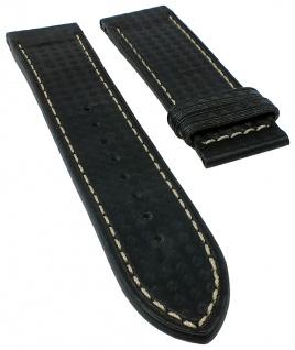 Jaguar Swiss Made Ersatzband Uhrenarmband Leder Band schwarz in Karbonoptik mit heller Naht für J614
