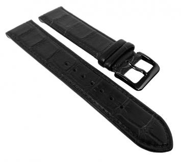 Minott Kroko Uhrenarmband   Naturleder mit Kroko Optik, schwarz mit Naht 30473