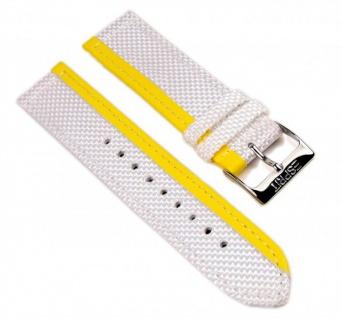Esprit Uhrenarmband Textil/Leder Band 20mm weiß mit gelbem Streifen ES102402006
