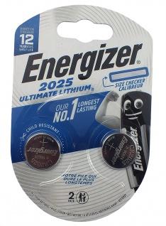 2 x Energizer 2025 Batterie Knopfzelle Lithium 3 Volts für Armbanduhren
