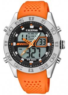 Calypso Armbanduhr PU-Band orange Kunststoff Quarzwerk Analog Digitaluhr K5774/1 K5774