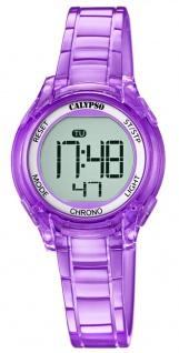 Calypso Kinderarmbanduhr Quarzuhr Digitaluhr Kunststoffuhr lila mit Alarm Stoppfunktion und Licht K5737/4