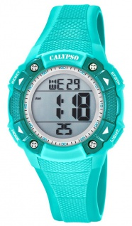Calypso Damenarmbanduhr Quarzuhr Digitaluhr Kunststoffuhr mit Alarm Stoppfunktion türkis K5728/4
