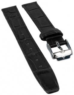 Jacques Lemans Uhrenarmband Ersatzband Leder mit Krokoprägung 14mm schwarz sehr dünn für JL 40-2