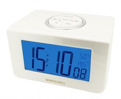 Marschall Sprechender Funk Wecker Alarm Digital Kunststoff weiß Clock Talking 34714