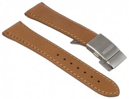 Citizen Uhrenarmband - Ersatzband aus braunem Leder mit heller Naht 22mm - für Promaster Herren Funk-Chrono AS4041-10W