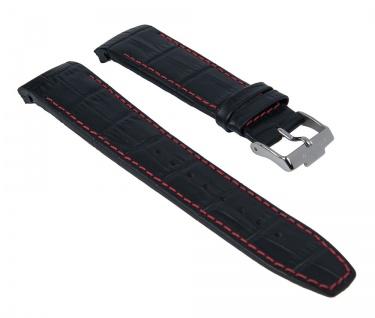 Uhrenarmband Ersatzband Leder schwarz mit roter Naht passend zu Jacques Lemans Liverpool JL 1-1655 1-1652 1-1516