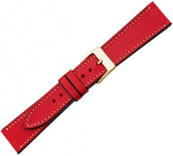 Minott Ersatzband Kalbsleder Vintage rot versiegelte Kante helle Naht Verlauf