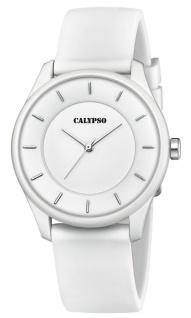 Calypso Damenarmbanduhr Quarzuhr Analoguhr Kunststoffuhr weiß mit weichem glattem Silikonband K5733/1