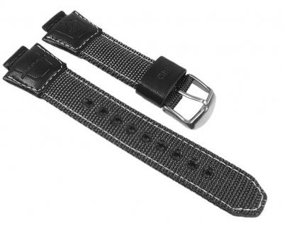Casio Uhrenarmband Textil/Leder Grau/schwarz AMW-700