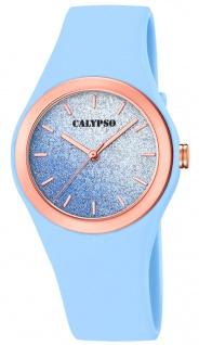 Calypso Damenuhr analog blau Kunststoff Armbanduhr Uhr PU-Band Quarzuhr K5755/4 K5755