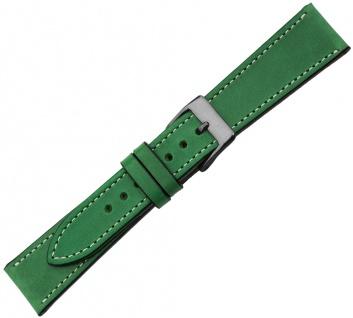 Minott Ersatzband Kalbsleder grün Vintage versiegelte Kante helle Naht Verlauf
