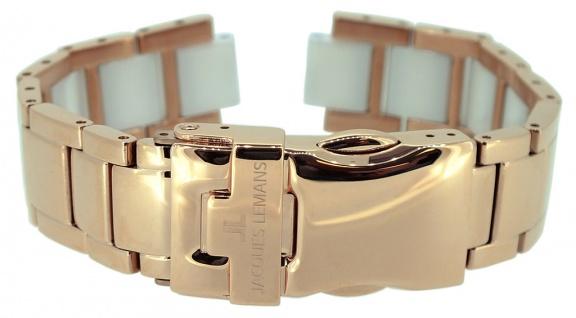 Dornschließe Edelstahl 20mm rosegoldfarben Lederarmbänder Jacques Lemans 28171R