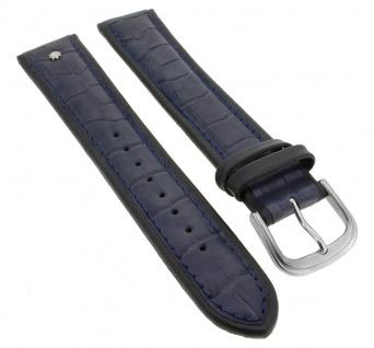 Junghans Ersatzband XL Uhrenarmband 21mm Leder blau mit Emblem mit Krokoprägung 030/4962