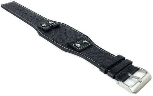 Alpha Saphir Ersatzband 22mm Leder schwarz Schließe silbern AS319A