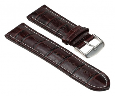 Uhrenarmband Leder Band Braun mit Alligator Narbung 25842S