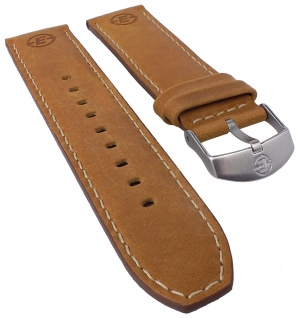 Timex Expedition Ersatzband Uhrenarmband Leder Band braun mit Kontrastnaht 22mm für T49991
