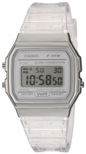 Casio Collection Damen Digitaluhr Displaybeleuchtung Acrylglas Resin F-91WS-7EF