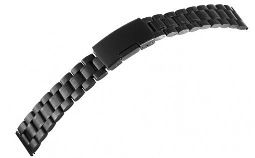 Minott Center   Uhrenarmband Edelstahl massiv PVD schwarz mit Faltschließe 18mm