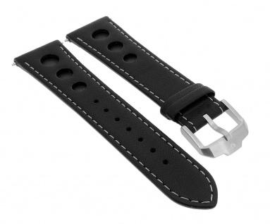 Junghans Chronoscope Racingband 23mm Leder schwarz 041/4261 041/4201 041/4260