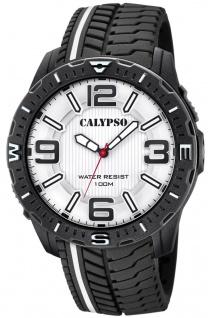 Calypso Herrenuhr analog schwarz Kunststoff Armbanduhr Uhr PU-Band Quarzuhr K5762/1 K5762