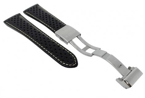 Citizen Uhrenarmband schwarz Leder mit Lochmuster 23mm AS4020-36E
