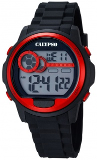 Calypso Herrenarmbanduhr Quarzuhr Kunststoffuhr mit Polyurethanband Alarm-Chronograph digital K5667/2