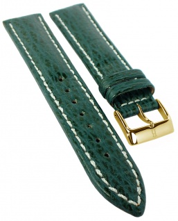Uhrenarmband | Lederband aus Haifisch-Leder | grün mit Kontrastnaht | 35048