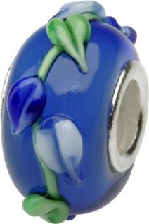 Charlot Borgen Marken Damen Bead Beads Drops Kristallglas Silberkern GPS-59Blau