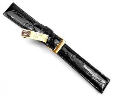 Echt Kroko Uhrenarmband Krokodilleder schwarz 20790G