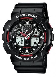 Casio G-Shock schwarz/rot Armbanduhr Herren analog-digital GA-100-1A4ER