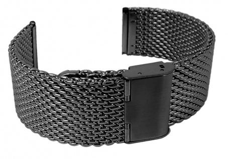 Minott Uhrenarmband Edelstahl Milanaise Band Schwarz verstellbarer Verschluss - 27005B