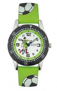 Adora Young Line   analoge Quarz Armbanduhr für Jungen   PU-Band grün - Fußballmotiv   36174