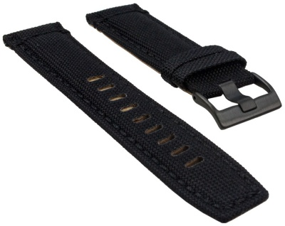 Timex Uhrenarmband Leder/Textil schwarz 22mm für T49820, T49821, T49822