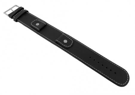 Unterlagenband Ersatzband Anfibiolederband Schwarz mit Naht 18mm 27249S