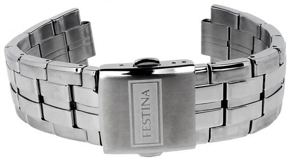 Festina Herren Uhrenarmband massives Edelstahl Band glänzend/mattiert silbern für Modell F16630
