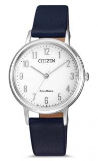 Citizen Armbanduhr | Eco-Drive Solarzelle | Lederband, blau | silberfarben > EM0571-16A