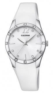Calypso Damenarmbanduhr Quarz analog PU-Band weiß Steinchenbesatz K5714/1