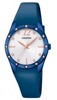 Calypso Damenarmbanduhr Quarz analog PU-Band blau Steinchenbesatz K5714/3